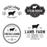 Set of premium lamb labels, badges and design elements. Logo for butchery, meat shop, steak house, farm etc