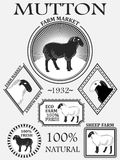 Set of premium lamb labels, mutton, badges and design elements. Illustration Royalty Free Stock Photo