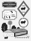 Set of premium lamb labels, mutton, badges and design elements. Vector Royalty Free Stock Image