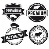 Set of premium meat badges Royalty Free Stock Photos