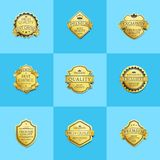 Set of Premium Quality Best Gold Labels Guarantee. Set of premium quality best golden labels guarantee sticker awards, vector illustration certificate emblems Stock Image