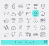 Set of premium quality fast food icons. Royalty Free Stock Images