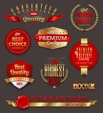 Set of premium quality golden labels. Set of premium quality and guaranteed golden labels, signs and emblems Royalty Free Stock Photo