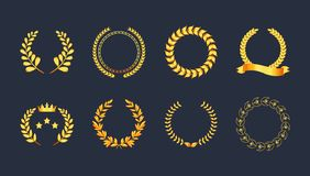 Set premium quality golden laurel wreath gold silhouette leaves. Foliate, wheat, olive with ribbons, crown vector symbol, logo. Award golden badge, medal, for royalty free illustration