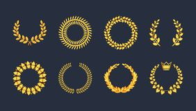Set premium quality golden laurel wreath gold silhouette leaves. Foliate, wheat, olive with ribbons, crown vector symbol, logo. Award golden badge, medal, for stock illustration