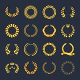 Set premium quality golden laurel wreath gold silhouette leaves. Foliate, wheat, olive with ribbons, crown vector symbol, logo. Award golden badge, medal, for vector illustration