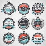 Set of premium quality, guaranteed, genuine badges, retro elements vector Stock Image