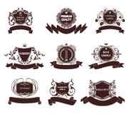Set of premium quality labels  with retro vintage styled design. Stock Photos