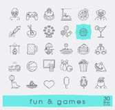Set of premium quality line fun and games icons. Royalty Free Stock Photos