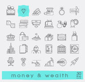 Set of premium quality line money and wealth icons. Stock Image