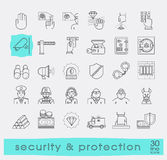 Set of premium quality line security and protection icons. Stock Images
