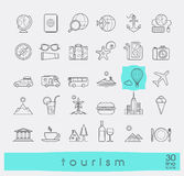 Set of premium quality line tourism icons. Royalty Free Stock Photography