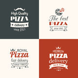 Set of premium quality pizza labels Stock Images