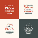 Set of premium quality pizza labels Stock Photos