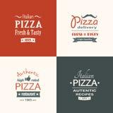 Set of premium quality pizza labels Stock Photos
