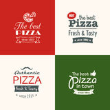 Set of premium quality pizza labels Stock Photo