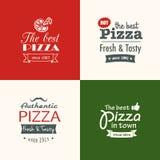 Set of premium quality pizza labels Stock Photo