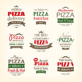 Set of premium quality pizza labels Royalty Free Stock Photo