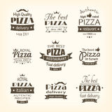 Set of premium quality pizza labels Stock Image