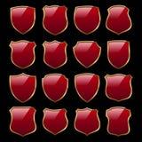 Set of Premium red shields stock illustration