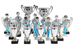 Set premium silver cups on marble base, isolated on white. Suite award silver cups on marble base, Silver Cup Trophies, many sports awards cups, isolated object stock images