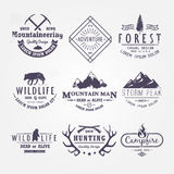 Set of premium vector labels part 2. Set of premium vector labels on the themes of wildlife, nature, hunting, travel, wild nature, climbing, life in the Stock Photo