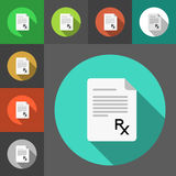 Set of prescription paper icons with Rx sign. Rx sign as a prescription symbol. Flat style  icons. Prescription papers. Royalty Free Stock Image