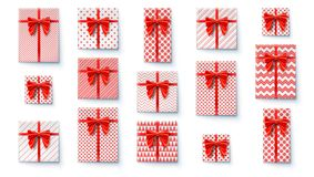 Set of present boxes, flat lay. Top view on wrapped in colored paper gift boxes with satin red bows. Vector concept of vector illustration