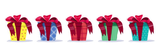 Set of Present bright colorful, with a bow and a geometrical pattern. Stock Photo