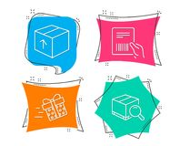 Present delivery, Parcel invoice and Package icons. Search package sign. Set of Present delivery, Parcel invoice and Package icons. Search package sign Royalty Free Stock Photos
