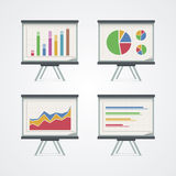 Set of presentation boards with pie charts Royalty Free Stock Photos