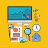 Set of  presentation concept design flat line Stock Photography