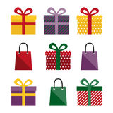 Set of presents and gift bags Royalty Free Stock Photos