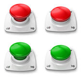 Set of pressed and depressed buttons. Set of red and green pressed and depressed buttons isolated on white background Stock Images