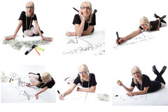 Set of pretty blonde in glasses posing as student Stock Photo