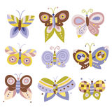 Set of pretty butterflies. Collection of nine pretty butterflies in muted hues of purple, green and yellow Stock Photo