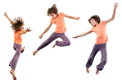 Set of pretty girl  jumping over white Royalty Free Stock Photos
