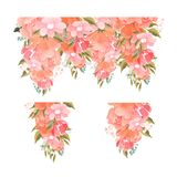Set of pretty pink rose floral elements for a design template with green leaves dainty berries and summer blossom stock illustration