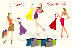 Set Pretty shopping girls, vector illustration. Set Pretty shopping girls with dress and bags, vector illustration Royalty Free Stock Photography