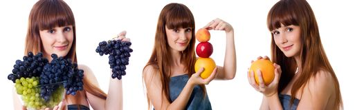 Set of pretty woman with fruits photos Stock Photography