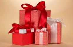 Set prezentów pudełek różnorodne formy Zdjęcia Stock
