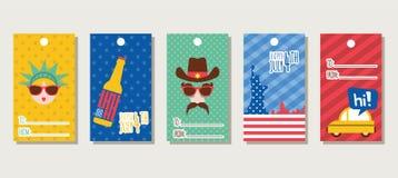 Set prezent oznacza o temacie 4th Lipiec, dzień niepodległości America Obraz Stock