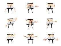 Set prezentaci biuro i biznesowy mężczyzna, 3d śliczna kreskówka Fotografia Royalty Free