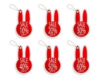 Set of price discount sale tag label in rabbit shape background. Vector illustration Royalty Free Stock Photo