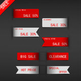 Set of price sale ribbon. Royalty Free Stock Photos