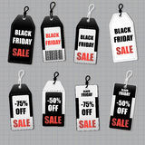 Set price stickers of Black Friday. Black friday design, sale, discount, advertising, marketing price tag. Clothes, furnishings, cars, food sale. Vector Stock Image