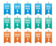 Set of price tag vector isolated on white, labels for discount Stock Images