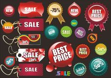 Set of price tags. 22 pieces , illustration Royalty Free Stock Images
