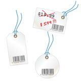 Set of price tags. Set of price three tags with bar code Stock Photography