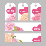 Set of price tags and banners for Valentine s day. Set of price tags and banners Valentine s day sale. Delicate flowers of rose and heart on white background Stock Photo